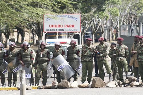 Military police in Uhuru Park, Nairobi, Kenya