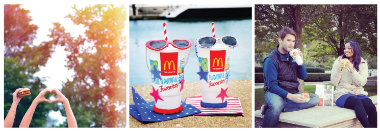 Figure 2. Examples of McDonald's cheerful and spirited personality.