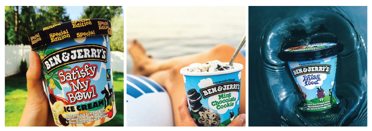 Figure 8. Examples of Ben & Jerry's honest and light-hearted personality.