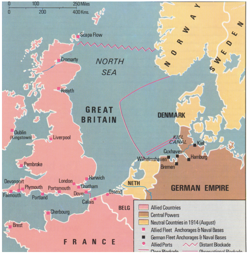 The British Blockade During World War I The Weapon Of Deprivation - Europe world war1 map 1914