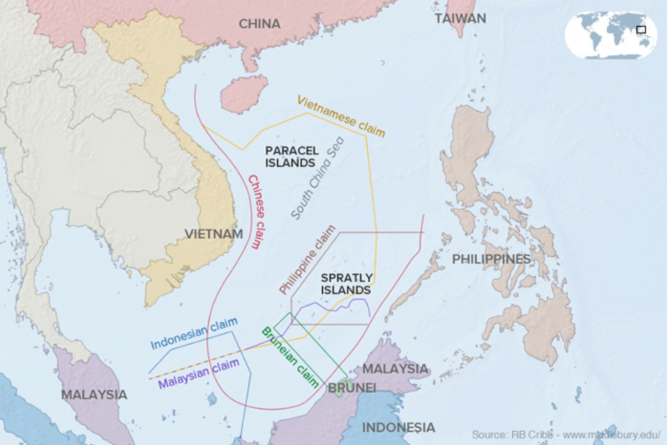 Competing Claims in the South China Sea Viewed Through International