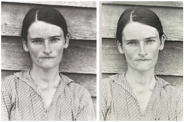 Sherrie Levine, After Walker Evans & Walker Evans, Alabama Tenant Farmer's Wife