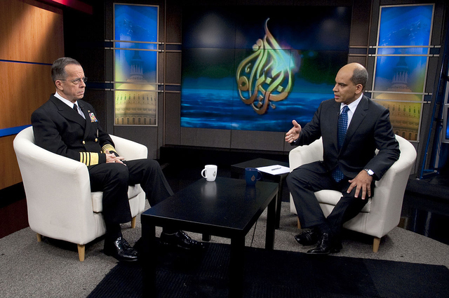 Navy Adm. Mike Mullen, chairman of the Joint Chiefs of Staff, is interviewed by Al Jazeera's Abderrahim Foukara in Washington, D.C