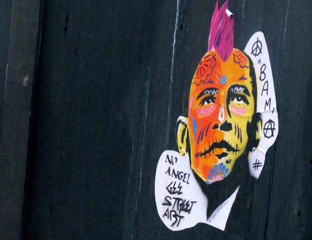 A PUNK VERSION OF PRESIDENT OBAMA CREATED I N THE EAST END BY GEE STREET ARTIST