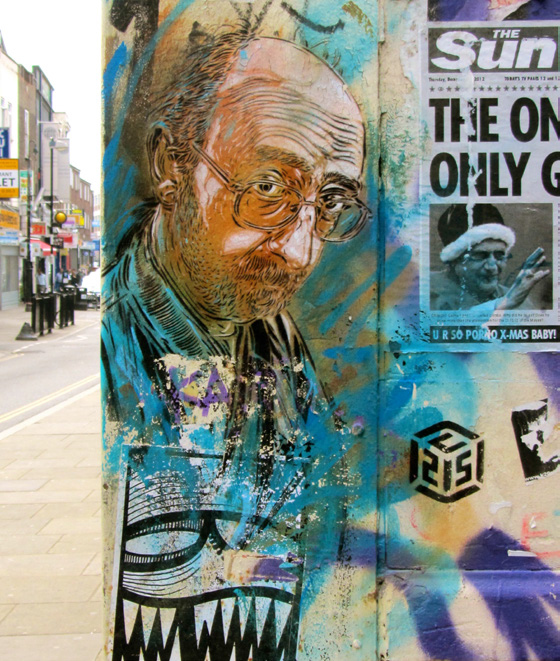 STENCIL PORTRAIT MADE IN THE EAST END BY FRENCH STREET ARTIST C215