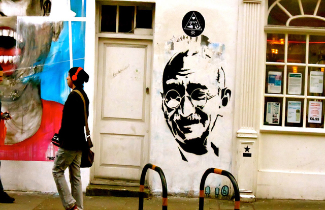 A STENCIL OF GANDHI CREATED IN THE EAST END BY AN ANONYMOUS ARTIST