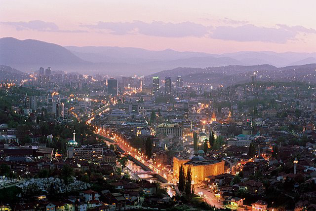 THE CITY OF SARAJEVO, BOSNIA'S CAPITAL AND LARGEST CITY