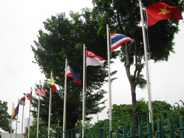 The flags of the ASEAN members at the ASEAN headquarters in Jakarta, Indonesia