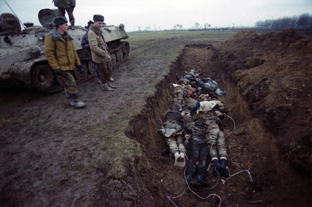A mass grave in Chechnya