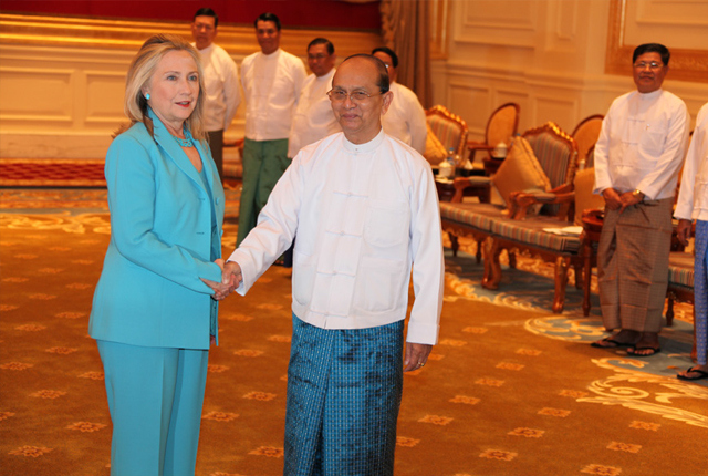 United States Secretary of State Hillary Clinton meets with Burma's President Thein Sein