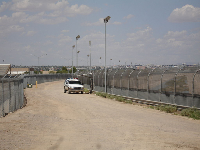 The United States border fence near El Paso, Texas