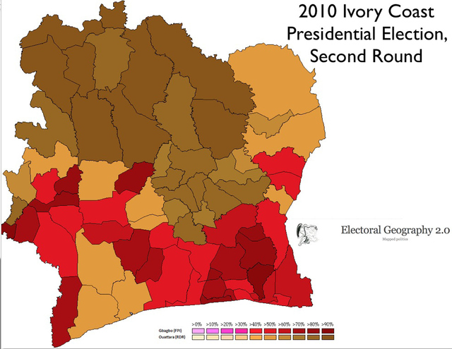 The 2010 Ivorian Presidential Election, which Gbagbo claimed despite having won fewer votes than Ouattara, was particuarily indicative of the continuing divisions within Cote d'Ivoire. Note the high overlap between coca production, dominated by southern groups, and the Gbagbo vote.