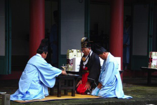 A ritual Confucian ceremony in Autumn in Jeju, South Korea