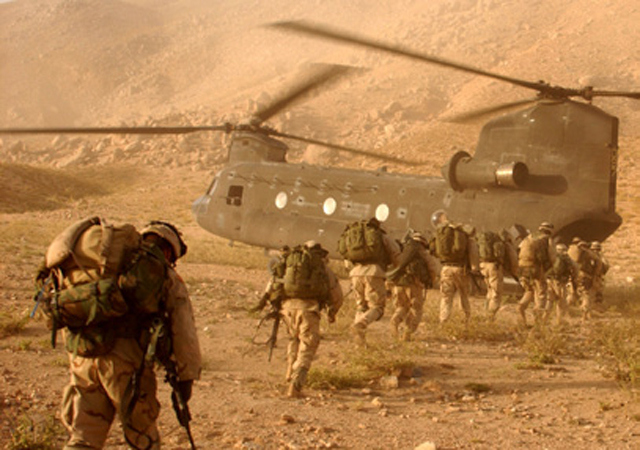 US soldiers board a CH-47 Chinook helicopter during a military operation in Afghanistan