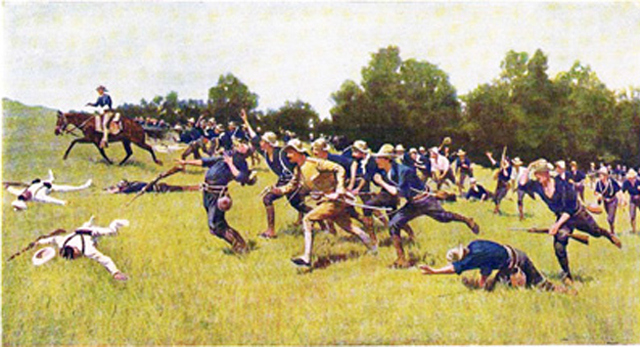 Charge of the Rough Riders at San Juan Hill.