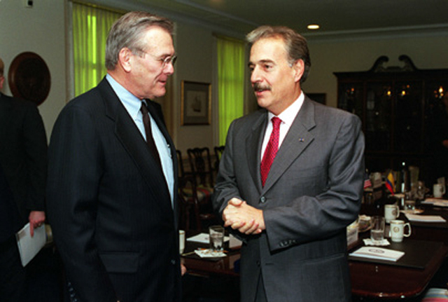 Fmr. Secretary of Defense Donald Rumsfeld Meeting with Fmr. Colombian President Andres Pastrana