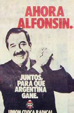 Election propaganda for Former President of Argentina Raul Alfonsin, who promoted fiscal decentralization.