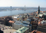 A bird's eye view of Riga, Latvia. Russian aliens compose nearly 15% of the country's population.