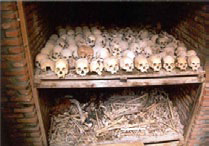 An open tomb from the Rwandan genocide.