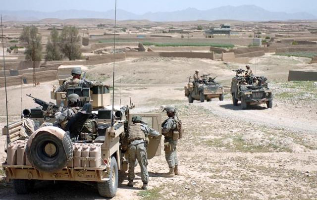 US and British armed forces patrol Sangin District area of Helmand Province in Afghanistan as part of the NATO operation.
