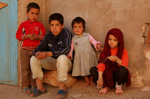 Young villagers outside their home in southern Morocco.