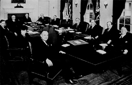 Franklin Delano Roosevelt's progressive cabinet, which was responsible in part for the financial regulations of the early 1930's.