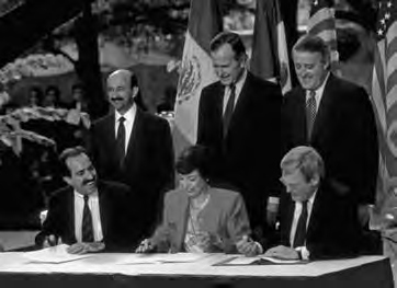 Signing of the NAFTA Treaty, December 17, 1992 by U.S. President Bush, Canadian Prime Minister Mulroney, and Mexican President Salinas.
