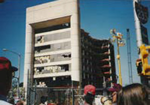 The Alfred P. Murrah Federal Building after being targeted by the Oklahoma City bombers.