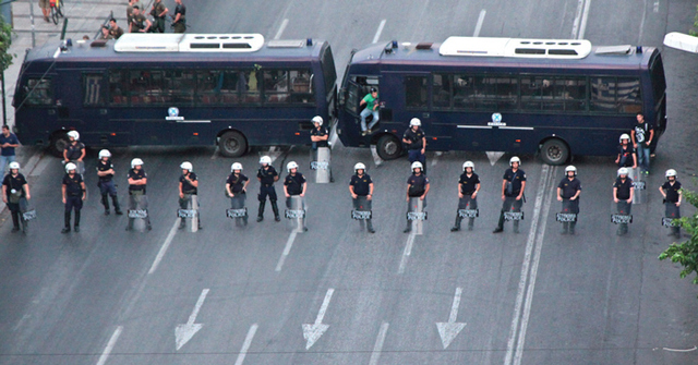 The riot police in Athens block all roads to parliament during protests in 2012