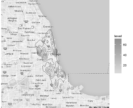 Figure 6: A plot of the density of crime incidence around Chicago over the time period of our study.