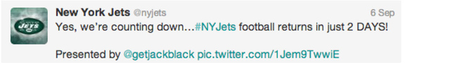 Figure 3. Example of Jets Promotional and Advertisement Tweet