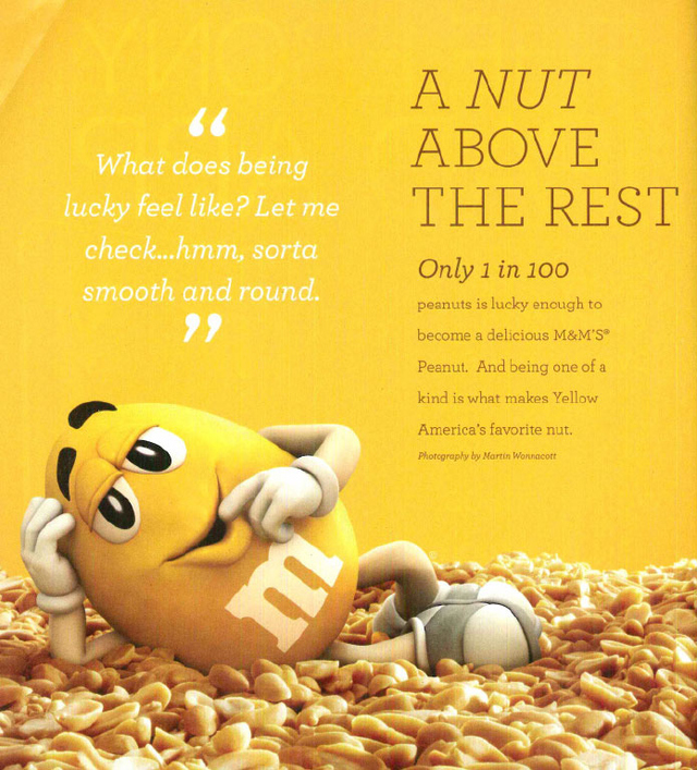 Figure 3. This taste-centric M&M'S ad appeared in the April 2014 issue of Ebony.