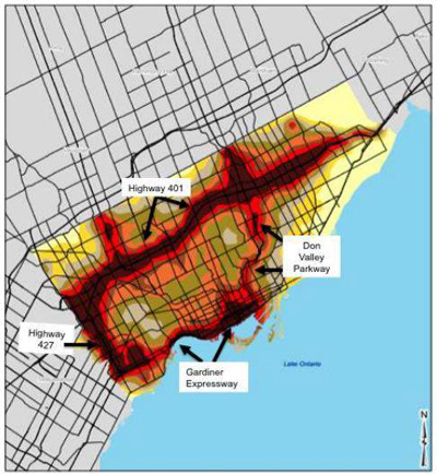 Figure 4 NOx levels across the City of Toronto, 2006 (Campbell & Gower, 2014)