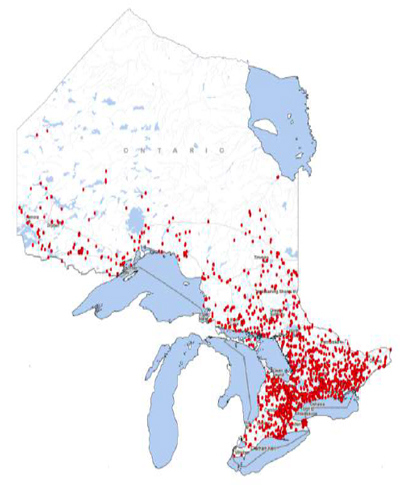 Figure 1. Map of dams in Ontario that are registered in the Ontario Dam Inventory. Dams are represented by red marks (Ontario, 2015).