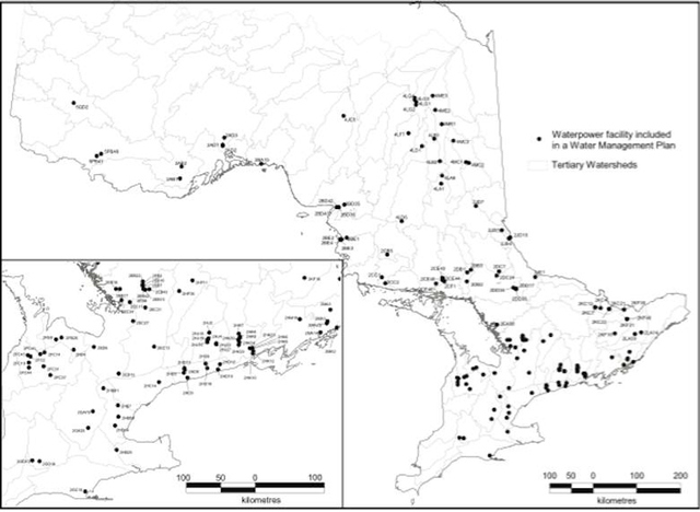 Figure 3. Map of the hydroelectric dams in Ontario that are currently included in a Water Management Plan (Metcalfe et al., 2005).