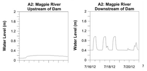 Figure 7. The water level upstream (left) and downstream (right) of the the hydropeaking dam in the Magpie River. The time scale, shown on the downstream and upstream hydrographs is the same (Nadon et al., 2015).