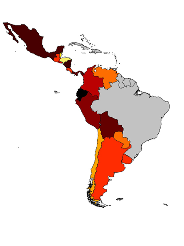 Figure A: Map of Latin America by Drug Law Intensity