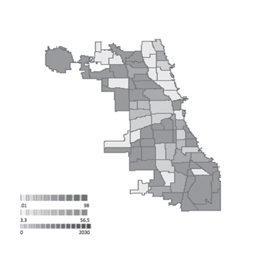 Figure 8. (center) Spatial model of Chicago displaying population (percent) below poverty line by community area