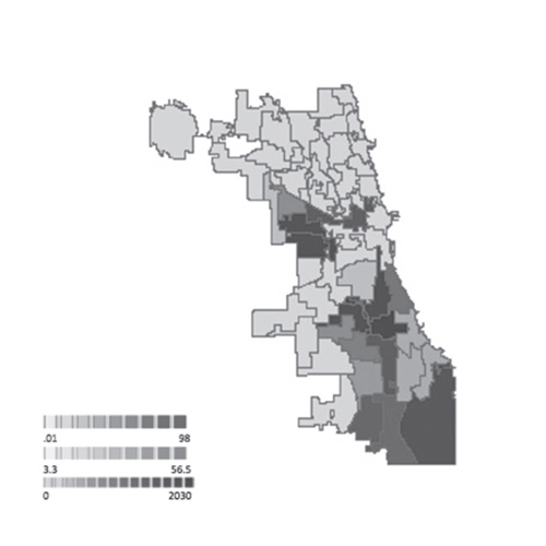 Figure 9. (right) Spatial model of Chicago displaying number of vacant lots by ward
