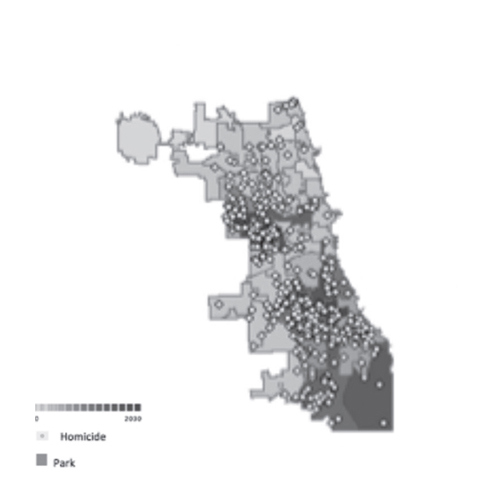 Figure 5. (Left) Spatial model of Chicago demonstrating the number of vacant lots by ward and homicide in 2013
