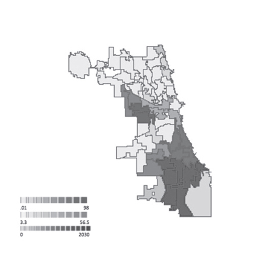 Figure 7. (left) Spatial model of Chicago displaying population of African Americans by ward