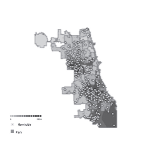 Figure 6. (Right) Spatial model of Chicago demonstrating the number of vacant lots by ward and homicide in in 2013 in reference to the location of city parks