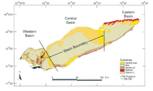 Figure 1. The map shows the three basins of Lake Erie: Western Basin, Central Basin, and Eastern Basin (Haltuch et al., 2000).
