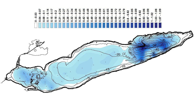 Figure 3. Colored map of the sedimentation rates superimposed on a map of the Lake Erie bathymetry shown with contours for visual representation only.