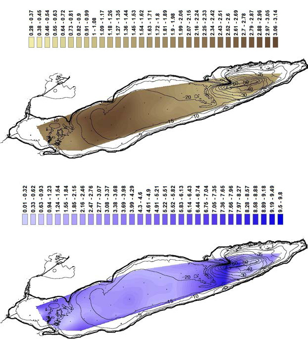 Figure 5. (a) The top map shows carbon concentrations (mmol/g) with contours superimposed on Lake Erie bathymetry, whereas (b) the bottom map displays carbon flux (mol/m2/year) over the same map. Water depth is measured in meters.