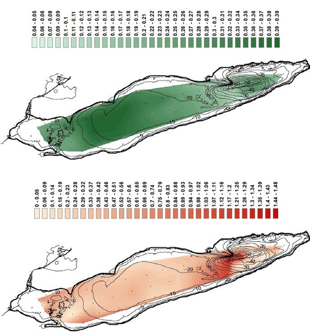 Figure 6. The top graph (a) is a colored map of nitrogen concentration data (mmol/g) with contours superimr,osed on the Lake Erie bathymetry. Water depth is measured in meters, whereas the bottom graph (b) displays nitrogen flux (mol/m2/year) over the same mapping. Water depth is measured in meters.