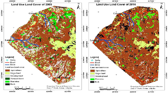 Figure 2. Land use/cover map of the Guna mountain range in the region of Amhara in Ethiopia depicting changes from 2003-2014. Adapted from