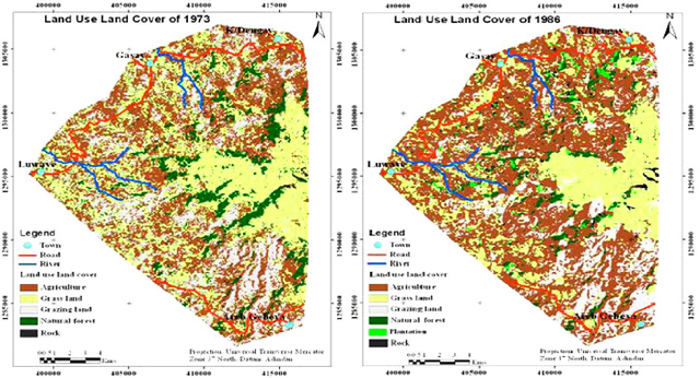 Figure 1. Land use/cover map of the Guna mountain range in the region of Amhara in Ethiopia depicting changes from 1973 1986. Adapted from