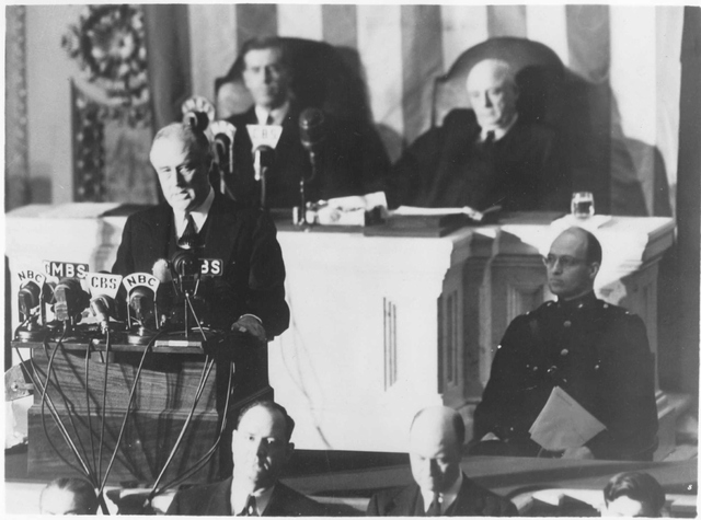 Roosevelt delivers the 'Day of Infamy' speech to a joint session of Congress on December 8, 1941