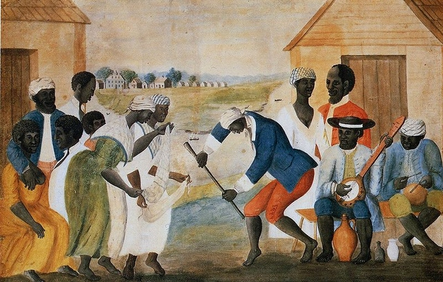 Slave dance on southern plantation